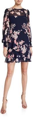 Eliza J Long-Sleeve Floral-Print Flounce Dress