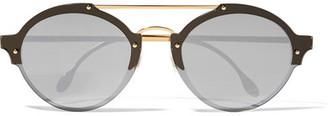 Illesteva - Malpensa Round-frame Acetate And Gold-tone Mirrored Sunglasses - Black $300 thestylecure.com
