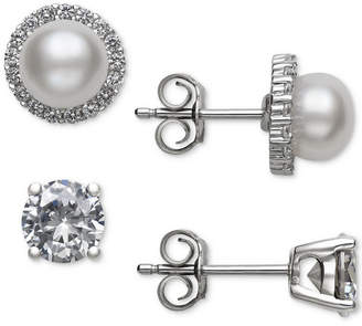 Belle de Mer 2-Pc. Set Cultured Freshwater Pearl (6mm) & Cubic Zirconia Stud Earrings in Sterling Silver