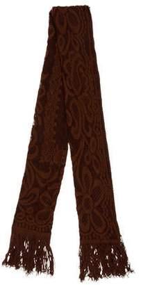 Longchamp Wool Knit Fringed Scarf