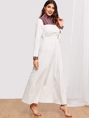 Shein Mock-Neck Elastic Waist Maxi Dress