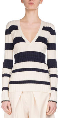 Proenza Schouler Striped V-Neck Pullover Sweater, White