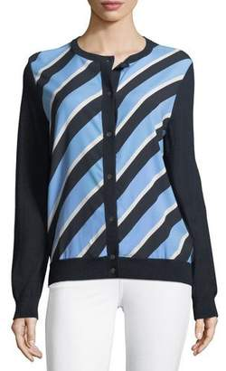 Neiman Marcus Cashmere Striped-Front Cardigan