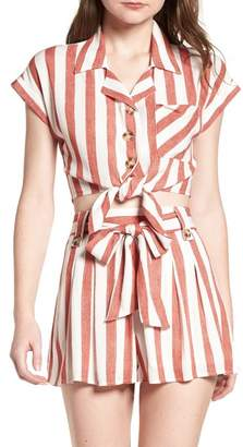 LYDELLE Stripe Tie Front Top