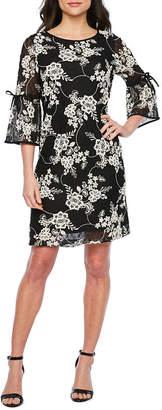 Studio 1 3/4 Tie Sleeve Floral Lace Shift Dress