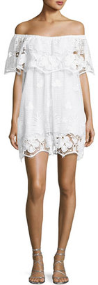 Miguelina Angelique Tropical Scallop Lace Coverup Dress, White $420 thestylecure.com