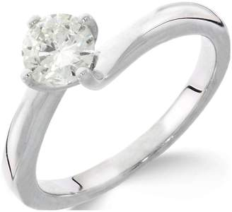 Love GOLD 9CT white gold 1/4 carat diamond solitaire with twisted 4 claw setting ring