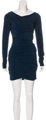 Elizabeth and James Pleated Mini Dress Blue Pleated Mini Dress