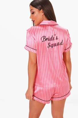 boohoo Candy Stripe Brides Squad Satin Short Set