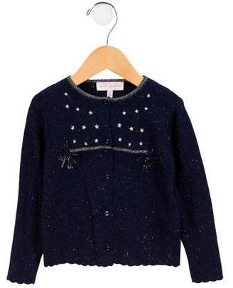 Lili Gaufrette Girls' Embroidered Metallic Cardigan