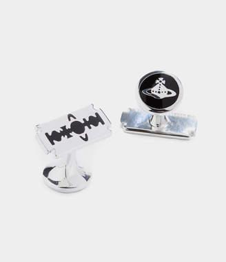 Vivienne Westwood Blade Enamel Cufflinks Silver Tone