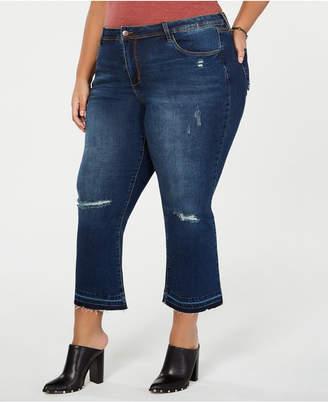 88ff1226cc54b Dollhouse Juniors  Plus Size Distressed Cropped Flare-Leg Jeans
