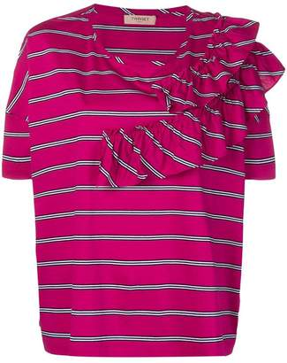 Twin-Set striped ruffle trim T-shirt