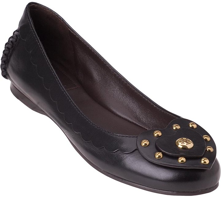 Tory Burch Heart Ballet Flat Black Leather 97-9216