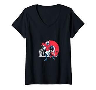 Womens Football Fan Football Player Quarterback Halfback Athlete V-Neck T-Shirt