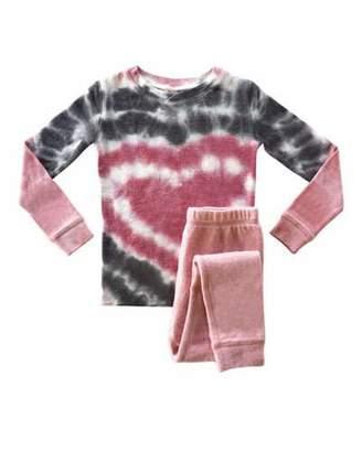 PJ Salvage Girl's Heart Tie Dye Sleep Set, Size 2-14