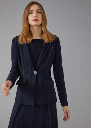 Giorgio Armani Single-Breasted Striped Ottoman Jacket