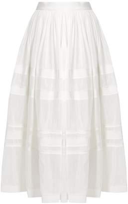 Maison Rabih Kayrouz Grosgrain-trim cotton and silk-blend voile skirt