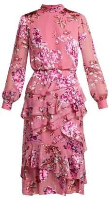 Saloni - Isa Insignia Floral Devoré Dress - Womens - Pink