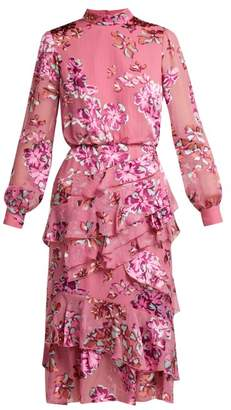 Saloni Isa Insignia Floral Devore Dress - Womens - Pink