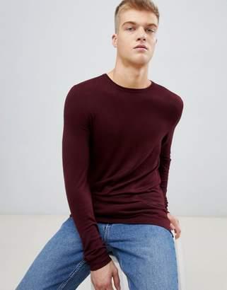 Bershka Lightweight Knitted Sweater In Burgundy