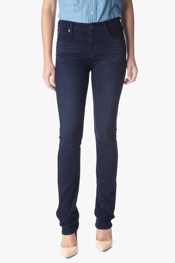 7 For All Mankind Slim Illusion Luxe Kimmie Straight In Rich Blue
