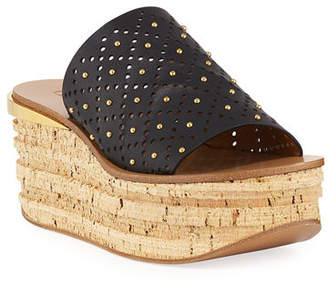 Chloé Camille Perforated Stud Slide Sandals