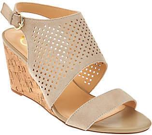 C. Wonder Perforated Suede Cork Wedge Sandals -