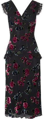 Anna Sui Lace-trimmed Floral-print Devoré-chiffon Midi Dress - Black