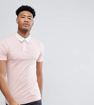 Asos DESIGN Tall muscle rugby polo shirt in pink