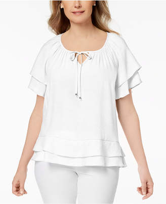 NY Collection Petite Flounce Keyhole Peasant Top