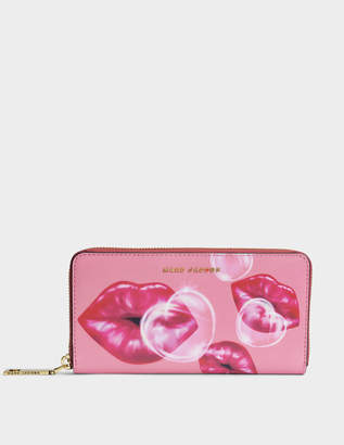 Marc Jacobs Lips Standard Continental Wallet in Tea Rose Split Cow Leather