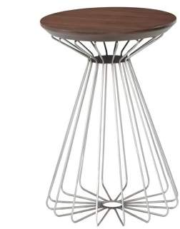 Emerald Home Pizzazz Walnut Brown End Table with Round Top And Metal Basket Base