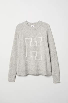 H&M Knit Intarsia-Motif Sweater - White