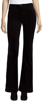 J Brand Women's Maria High-Rise Luxe Velveteen Flare Pants - Black, Size 30 (8-10)