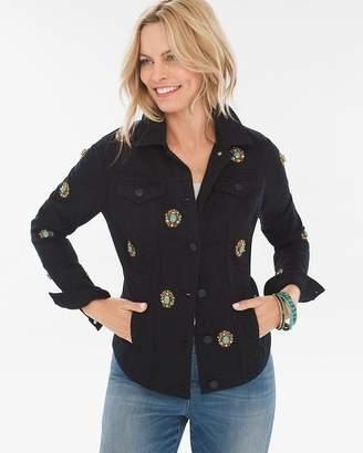 Medallion-Embellished Denim Jacket