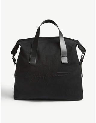 Yohji Yamamoto Embroidered large linen tote bag