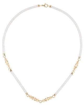 14K Two-Tone Textured Beaded Chain Necklace