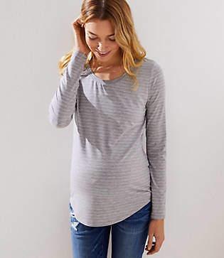 LOFT Maternity Shimmer Striped Shirttail Tee