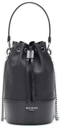 Balmain Polygon Small leather bucket bag