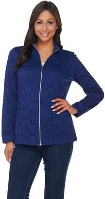 Denim & Co. Long Sleeve Lace Zip Front Jacket