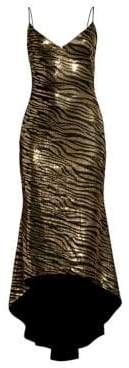 Black Halo Armelle Metallic Tiger Midi Dress