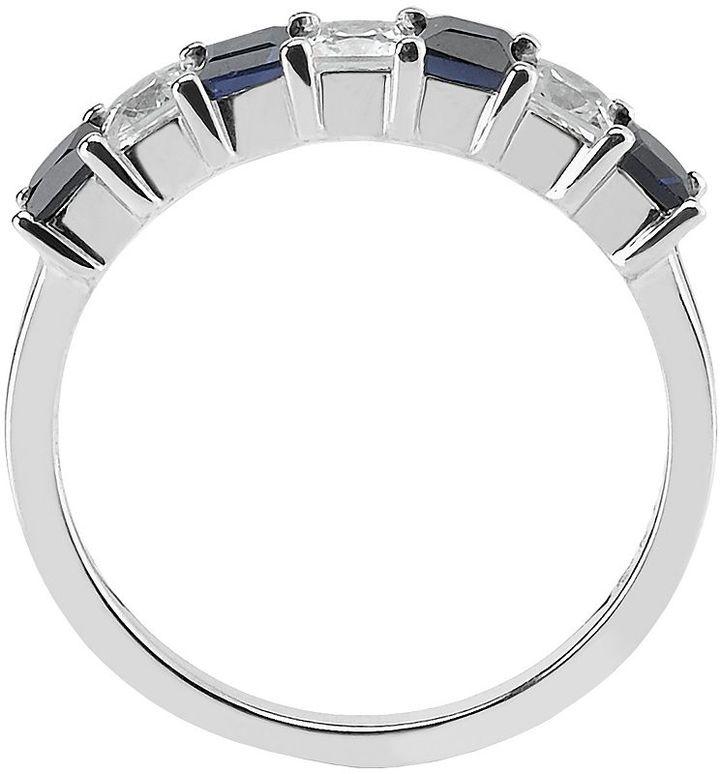 14k White Gold Sapphire & 1/2-Ct. T.w. Princess-Cut Diamond Ring