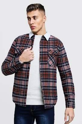 boohoo Borg Lined Flannel Check Overshirt