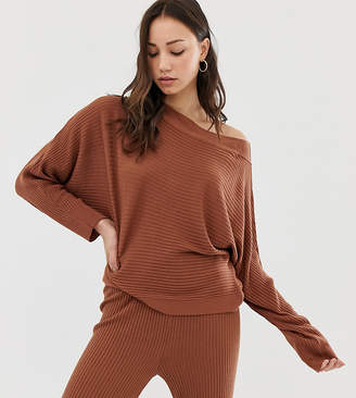 Asos Tall DESIGN Tall lounge knitted rib off shoulder sweat