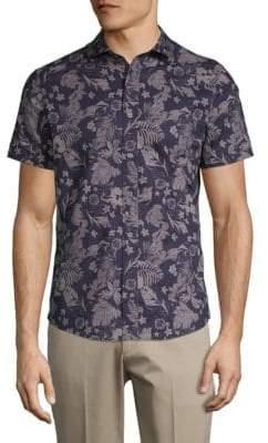 Slate & Stone Garden-Print Short-Sleeve Cotton Button-Down Shirt