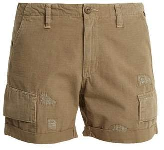 Re/Done Originals Re/done Originals - Distressed Cotton Ripstop Shorts - Womens - Khaki