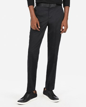 Express Slim Black Satin Accent Cotton Sateen Tuxedo Pant