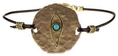 One of a Kind Leather Bracelet with Eye Pendant - SALE
