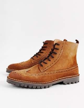 Selected suede brogue boot
